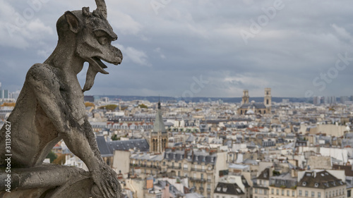 Fotografiet Stone gargoyle on the roof of Notre Dame Cathedral in Paris, France