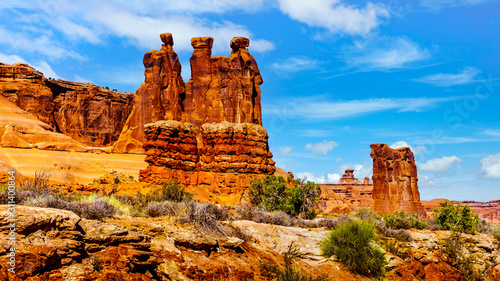 Fotografia The Three Gossips, a Sandstone Formation in Arches National Park near Moab, Utah