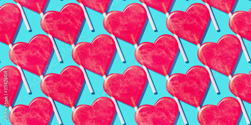 Wallpaper Mural Red and blue heart shape lollipop Seamless pattern Valentine day background