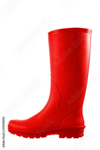 Canvastavla Red rubber boots isolated on white background