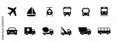 vector isolated of transport icons set