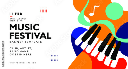 Obraz na płótnie music festival banner background template with colorful trend colors