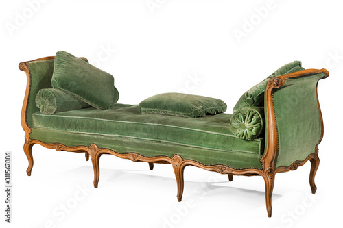 Slika na platnu Wooden sofa day bed with green upholstery isolated on white