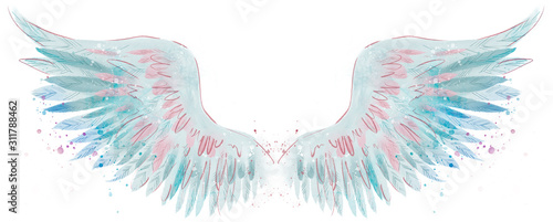 Stampa su Tela Beautiful magic blue pink watercolor angel wings