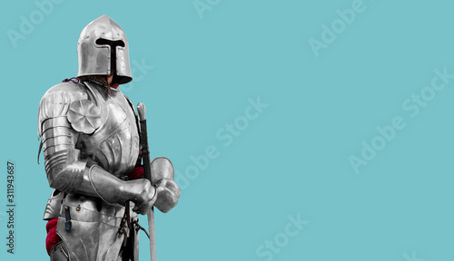 Canvas Print Knight in shiny metal armor