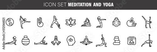 Stampa su Tela Meditation Practice and Yoga Vector Line Icons Set