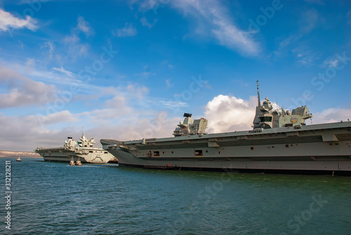 Canvas Print The Royal Navys aircraft carriers HMS Queen Elizabeth and HMS Prince of Wales do