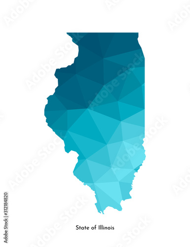Carta da parati Vector isolated illustration icon with simplified blue map's silhouette of State of Illinois (USA)