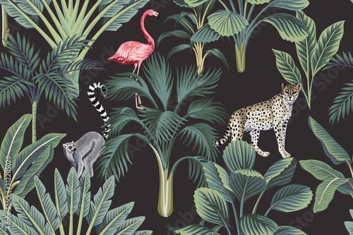 Carta da parati Tropical vintage wild animals, flamingo, palm trees, banana tree floral seamless pattern dark background