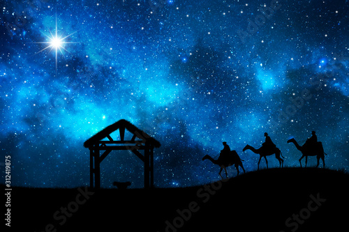 Christmas story. Three wise men go for the star of Bethlehem. Tapéta, Fotótapéta