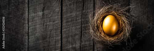 Obraz na plátne Banner Of Golden Nest Egg On Rustic Wooden Table Background - Investment Concept