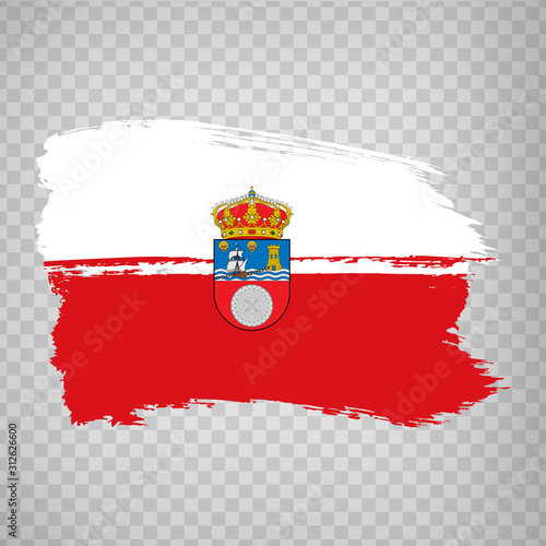 Flag of Cantabria brush strokes. Flag Autonomous Community Cantabria on transparent background for your web site design, logo, app, UI. Kingdom of Spain. Stock vector. EPS10.