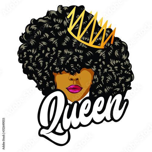 Fotografie, Obraz Beautiful girl with curls Queen design - VECTOR