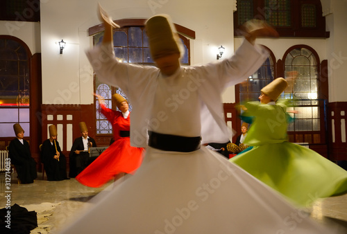 Wallpaper Mural Whirling Dervish Sema Ceremony with musicians and women dancers Istanbul