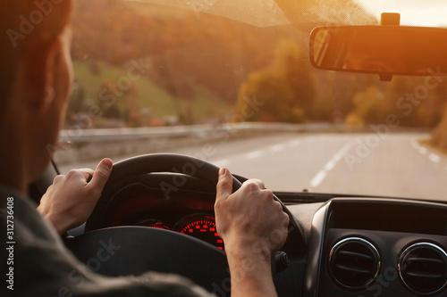 Billede på lærred travel by car, road trip driving background