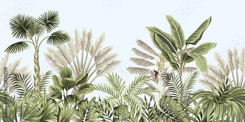Tablou Canvas Tropical vintage botanical landscape, palm tree, banana tree, plant floral seamless border blue background