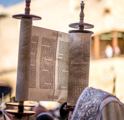 Fototapeta Reading the Torah scroll at the Western wall for Sukkot holiday