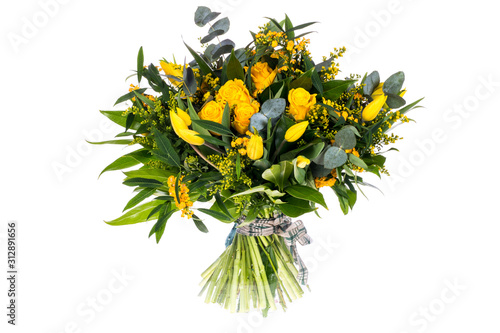 Leinwand Poster bouquet of flowers isolated on white background