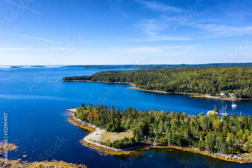Obraz na płótnie Aerial view of bay in Nova Scotia, Canada