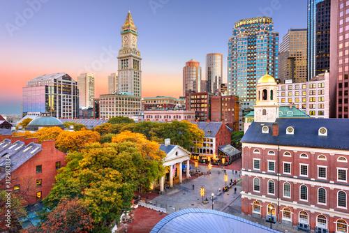 Fotografía Boston, Massachusetts, USA Downtown Skyline