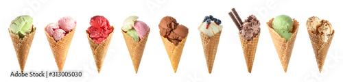 Valokuva Set of tasty ice-cream on white background