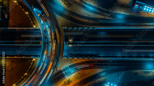 Fotografia, Obraz Expressway aerial top view, Road traffic an important infrastructure in Thailand