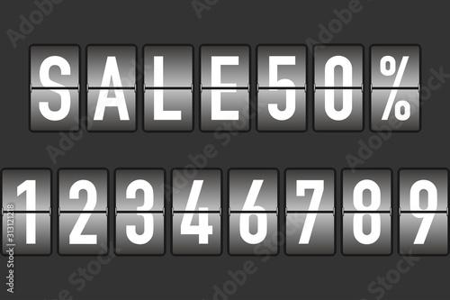 Foto split flap numbers for sale display vector