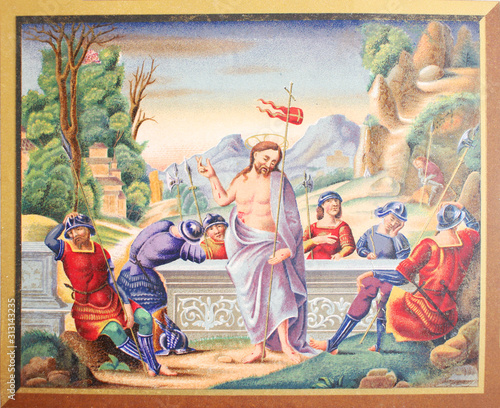 Canvas Print Jesus Christ and soldiers in a vintage book Les Evangiles, edited by Curmet, 186