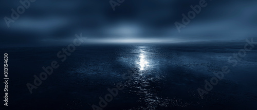 Leinwand Poster Empty futuristic landscape, background, night view, cold frozen water, ice