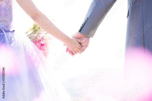 花嫁,結婚式,手をつなぐ,ピンク,ドレス Fototapete
