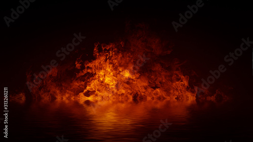 Fotografie, Obraz Blaze fire flame texture overlays on isolated background with water reflection