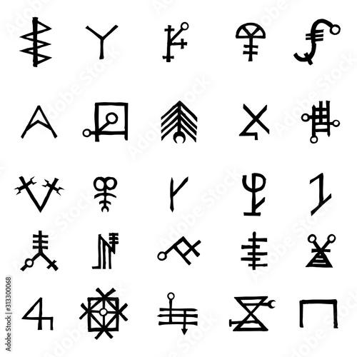 Canvas Print Mystic set with magic circles, pentagram and imaginary chakras symbols