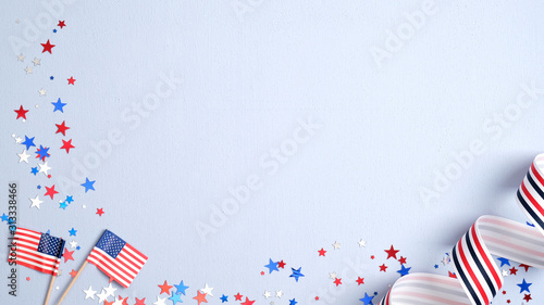 Fotografia Happy Presidents Day banner mockup with American flags, confetti and ribbon
