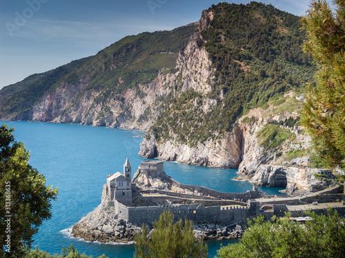 Carta da parati Porto Venere (Portovenere), Liguria, Italy: beautiful aerial scenic view of the Church of St