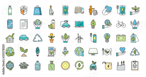 Photo bundle of ecology friendly set icons vector illustration design