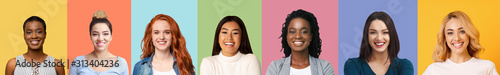 Valokuva Collage of diverse multiethnic young women smiling over colorful backgrounds