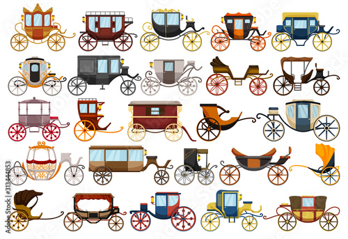 Carta da parati Vintage carriage vector cartoon set icon