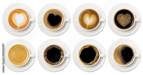 Fotografija coffee cup assortment top view collection, coffee cup assortment with heart sign top view collection isolated on white background