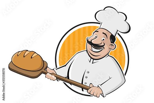 Tela funny cartoon sign of a baker holding a delicious bread