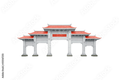 Photo Chinese pavilion gate with red roof