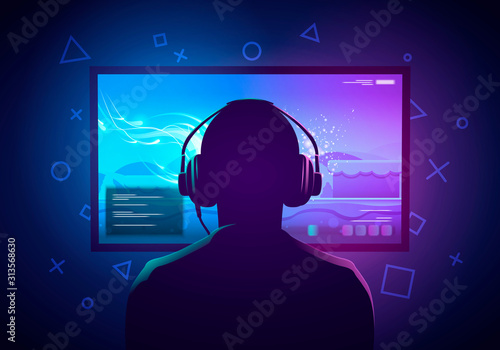 Obraz na plátně Vector Illustration Young Gamer Sit In Front Of A Screen And Playing Video Game
