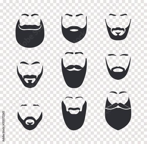 Obraz na płótnie Various mustache and beard haircuts, male face hair, face masks set