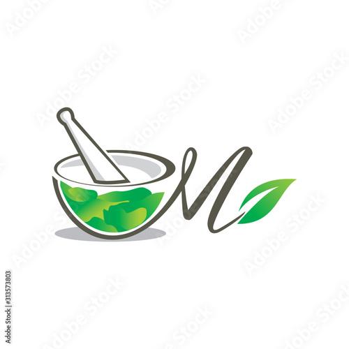 Mortar and pestle logo Fototapeta