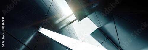 Fototapeta premium Szeroki kąt abstrakcyjny widok tła stalowego jasnoniebieskiego wieżowca wysokiego wzrostu handlowego wykonanego ze szkła na zewnątrz. koncepcja udanej architektury przemysłowej i budynku centrum biurowego