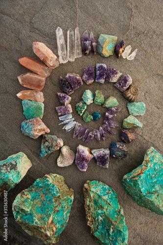 Photo Crystal Reiki healing spiral of stones