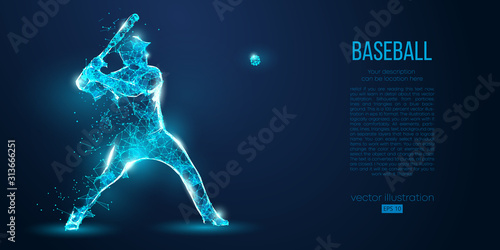 Canvas Print Abstract baseball player from particles, lines and triangles on blue background