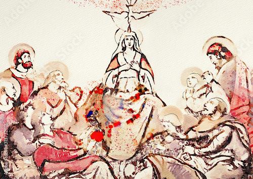 Fotografia Pentecost. Christian banner, watercolor