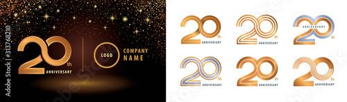 Fotografía Set of 20th Anniversary logotype design, Twenty years anniversary celebration