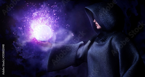 Canvas Print Witch raise hand control ball-glass to cast a black magic spell to background smoke and particle effect from magic,3d rendering picture