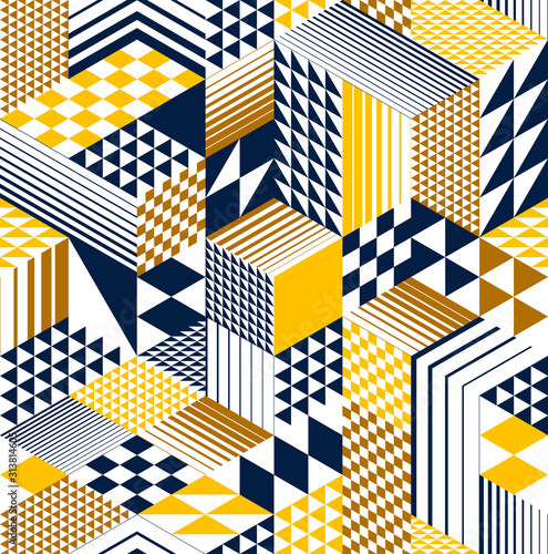 3D cubes seamless pattern vector background, rhombus and triangles dimensiona...